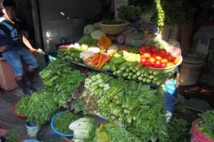 Gemüsestand am Markt in Saigon