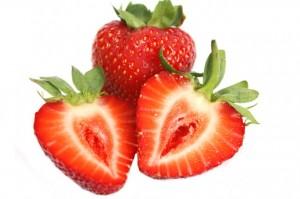 Erdbeeren aufgeschnitten [Fragaria xananassa]